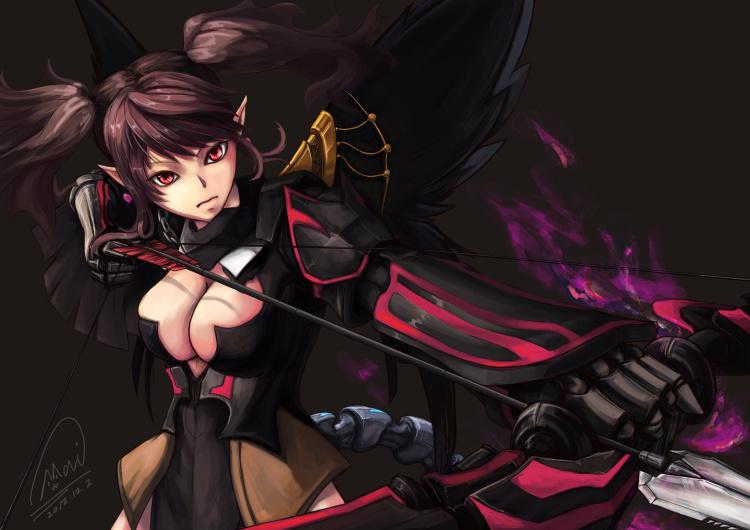 Обои девушка, стрела, лук, защита, выстрел, глаза, грудь из раздела аниме.